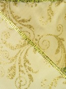 Gold Edged Champagne With Gold Floral Pattern Satin Christmas Ribbon - 3m