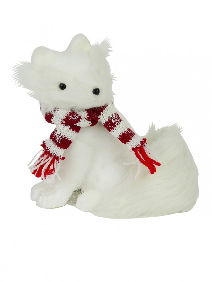 Flocked Styrofoam Sitting Fox Ornament - 18cm