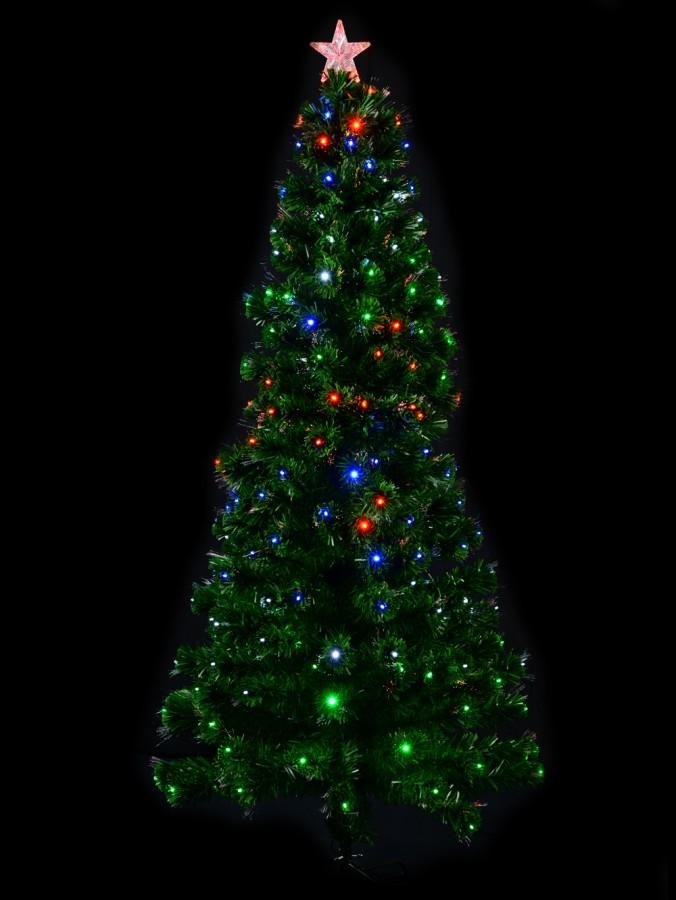 Multi Colour With Bauble Decorations Fibre Optic Tree - 90cm