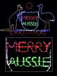 australian coat of arms merry aussie christmas led rope light silhouette 19m