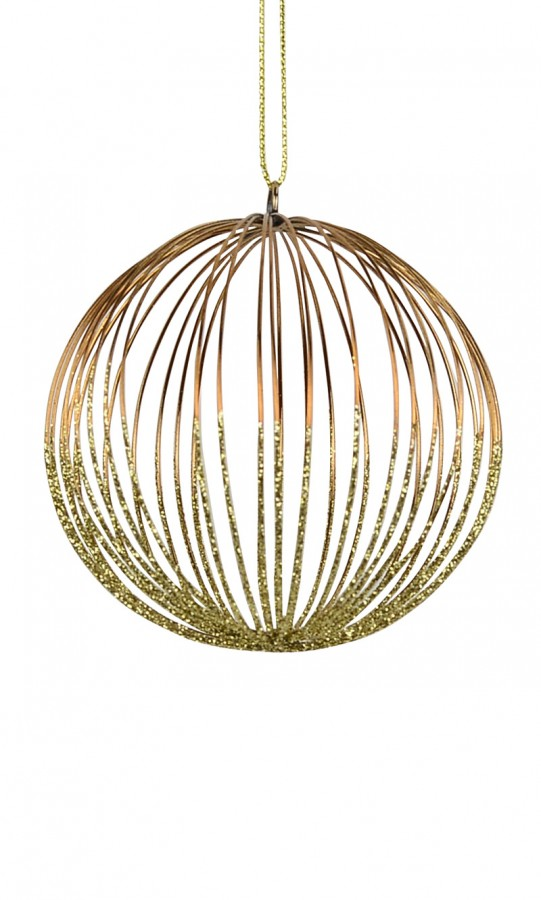 Bronze & Gold Open Glitter Ball Hanging Ornament - 8cm