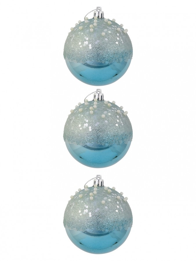 Ice Blue Baubles With Frosted Look, Sequins & Pearl Embellishments - 3 x 80mm