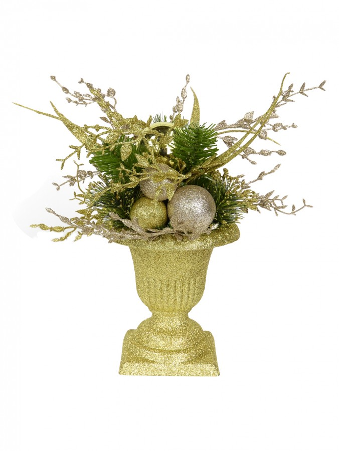 Gold Glitter Urn Vase with Green & Champagne Shrubbery - 30cm