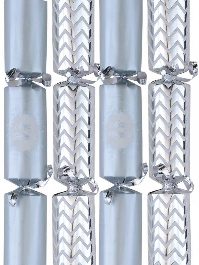 Silver Metallic & Matte Design Christmas Cracker Bon Bons - 6 x 22cm