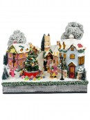 Winter Town Christmas Village Scene With LED Lights & Rotating Tree - 36cm