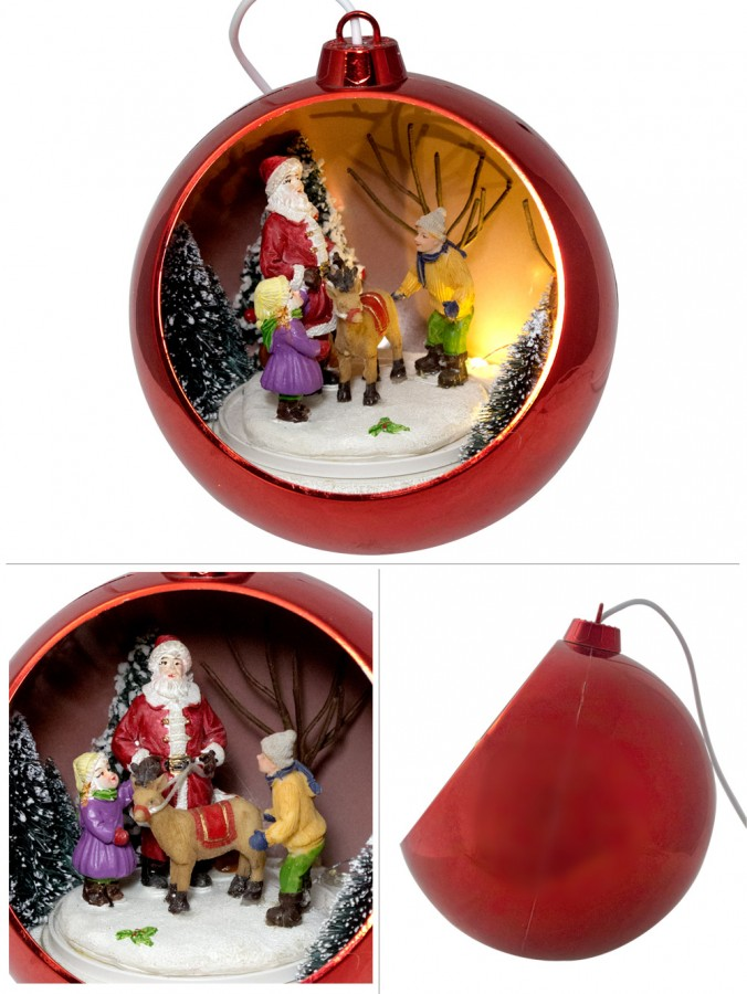 illuminated rotating musical red bauble with santa scene 12cm