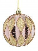 Pink Geometric Textured Shiny & Glittered Baubles - 4 x 80mm