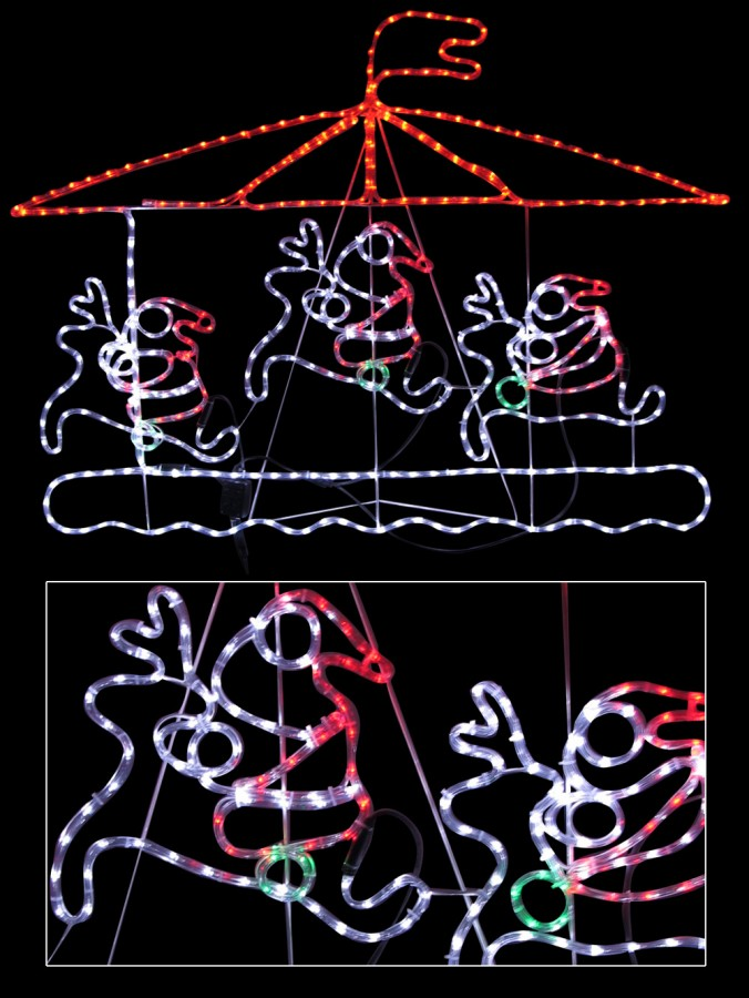 Santa riding deer carousel led rope light silhouette 15m santa riding deer carousel led rope light silhouette 15m mozeypictures Images