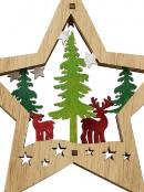 Wood Reindeer & Forest Star Scene Christmas Tree Hanging Decoration - 13cm