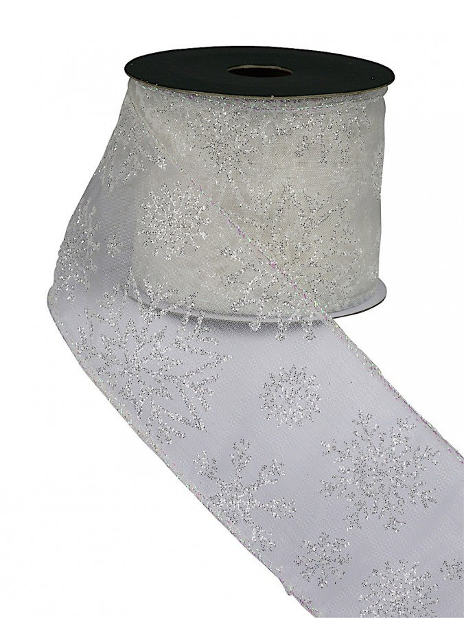 Sheer White Ribbon With White Glitter Snowflake Print - 3m
