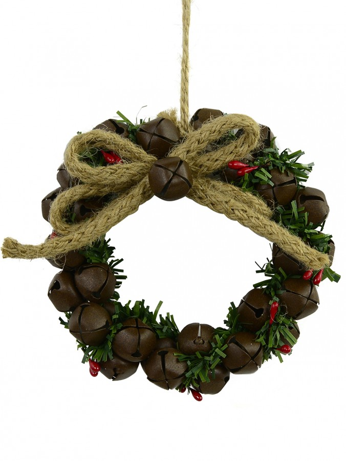 Decorated With Jute & Foliage Metal Bells Wreath - 10cm