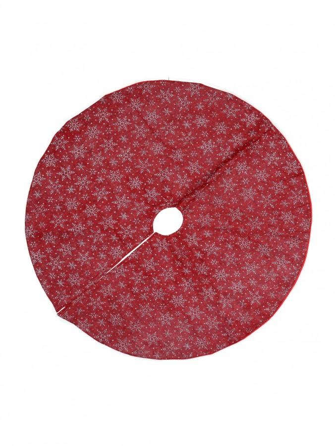 Silver Glittered Snowflake Pattern Red Hessian Christmas Tree Skirt - 88cm
