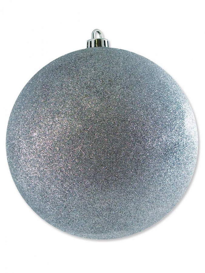 Silver Glittered Large Bauble Display Decoration - 20cm