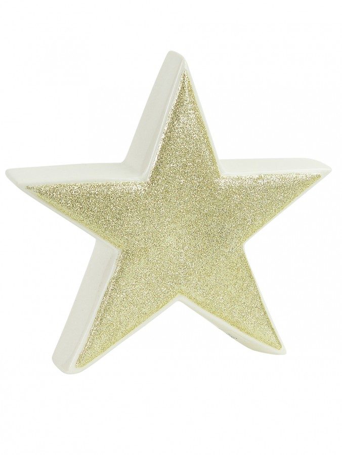 White With Gold Glitter Free Standing Star Ceramic Christmas Ornament - 17cm