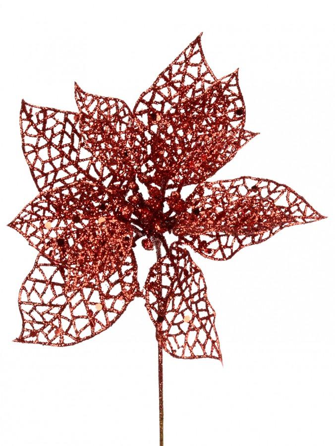 Red Filigree Decorative Poinsettia Floral Pick - 17cm
