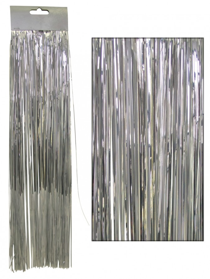 Silver lametta tinsel icicles strands christmas