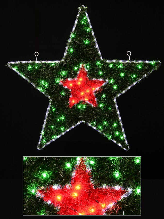 Red & Green With Cool White LED Tinsel Double Star Rope Light Motif - 95cm