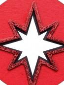 Red Wood Bethlehem Star Medallion Christmas Tree Hanging Decoration - 10cm