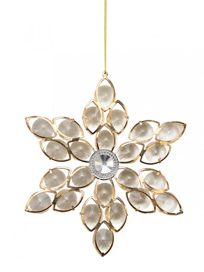 Champagne Star Snowflake Encrusted Diamante Hanging Ornament - 14cm