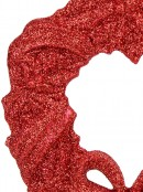 Red Glitter Wreath With Bow Christmas Tree Hanging Decoration - 12cm