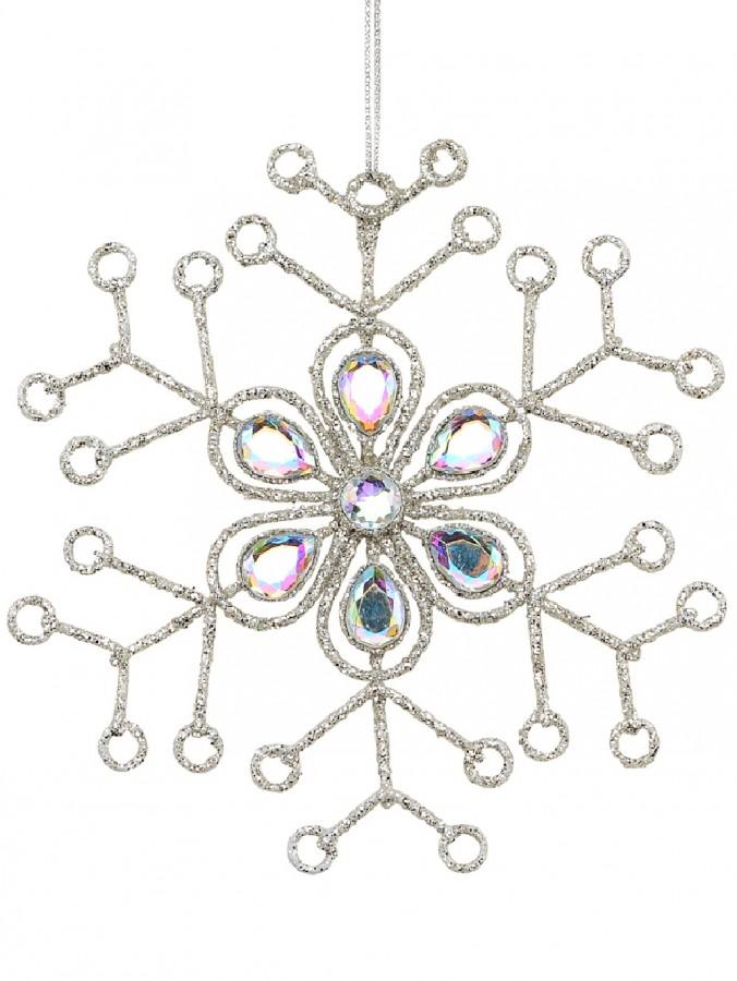 Silver Snowflake & Encrusted Diamante Christmas Tree Hanging Decoration - 12cm