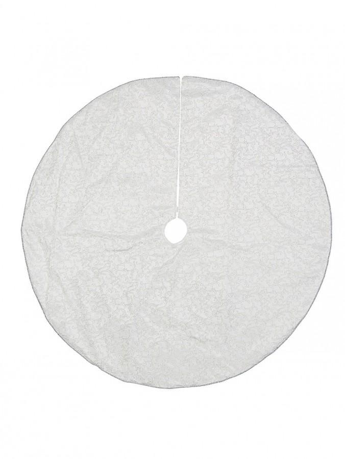 White Velvet With Silver Print & Cord Trim Christmas Tree Skirt - 1.2m