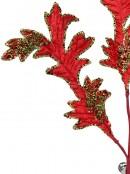 Red & Green Decorative Acanthus Floral Leaf Pick - 30cm