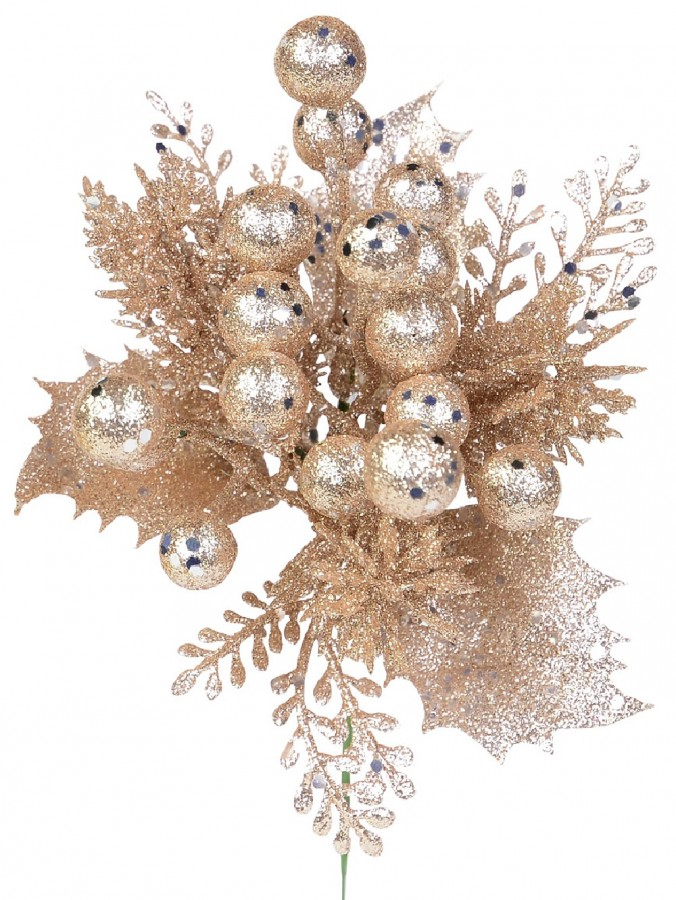 Rose Gold Glittered Decorative Berry Floral Pick With Twigs & Leaves - 20cm