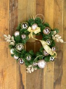 Champagne & Pink Bauble, Holly Leaf & Whisker Loops Pine Wreath - 45cm