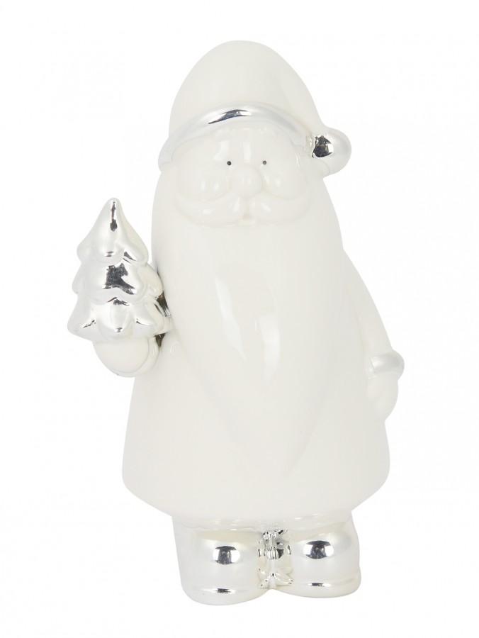 Ceramic Santa Standing Ornament in White Gloss & Silver - 17cm