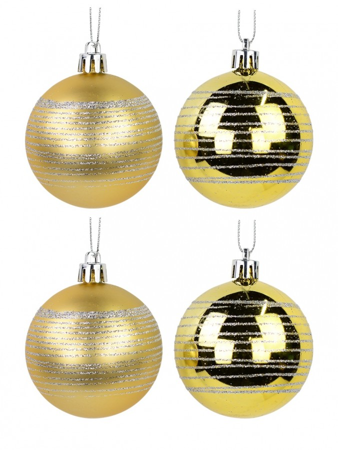 Gold Matte & Gloss With Silver Glitter Stripes Baubles - 12 x 60mm