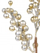 Silver & Gold Glittered Decorative Berry Spray With Sequins Pick - 33cm