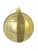 Matte Gold With Gold Sprinkle & Glitter Detail Baubles - 6 x 80mm