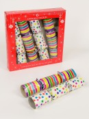 Colourful Festive Stripe & Dot Design Christmas Cracker Bon Bons - 6 x 25cm