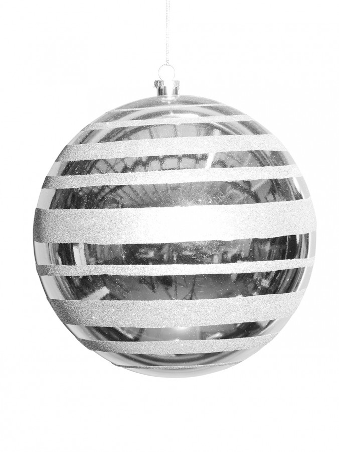 Metallic Silver With Silver Glitter Stripe Large Bauble Display Decoration - 25cm