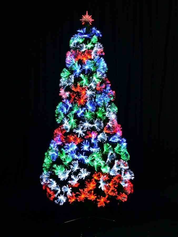 Fibre Optic Christmas Tree In Red, Green, Blue & White - 1.2m