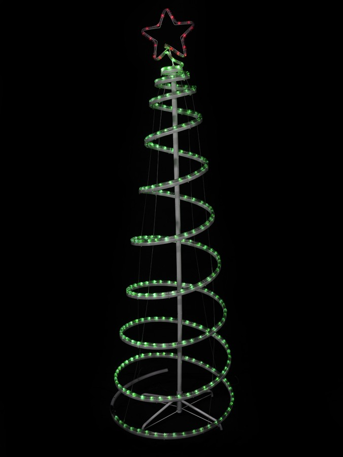 Green With Red Star 3D LED Spiral Rope Light Tree - 1.8m