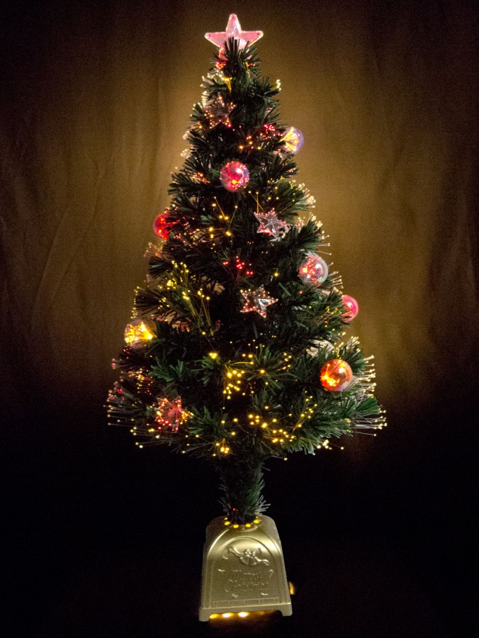 multi colour with bauble star decorations fibre optic tree 12m