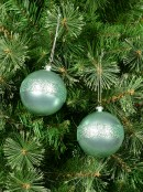 Mint Pearl Green Baubles With Laser Glitter Band - 4 x 80mm