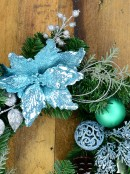 Pre-Decorated Blue Poinsettia, Pine Cone, Foliage & Baubles Pine Wreath - 45cm