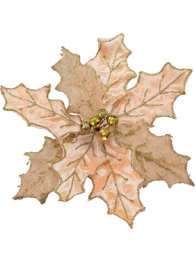 Pink Glittered Two Style Leaf Decorative Poinsettia Floral Pick - 28cm