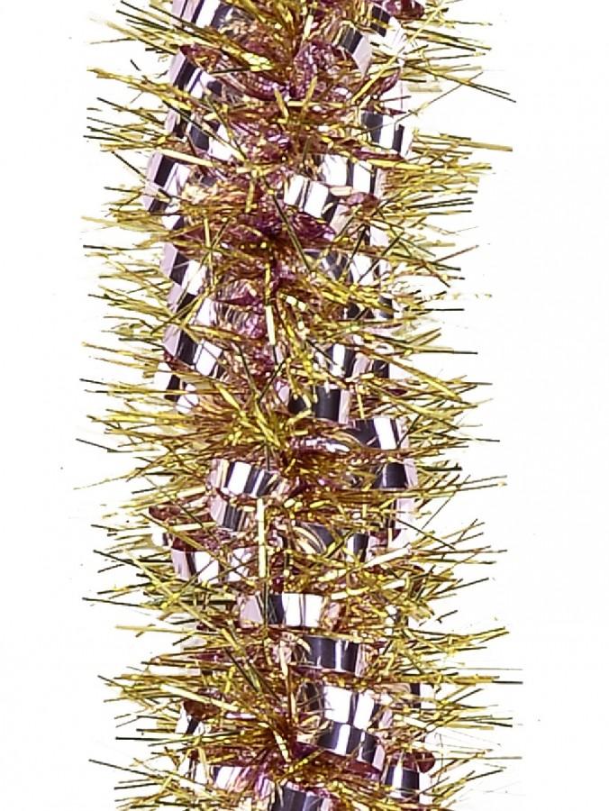 Soft Pink Ribbon Look & Gold Pine Needle Christmas Tinsel Garland - 2.7m
