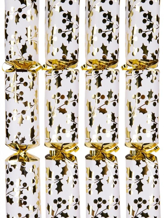 White With Gold Holly Leaf Design Bon Bons - 40cm x 6 Pack
