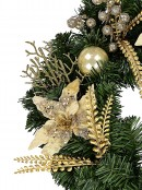 Classic Gold & Champagne Wreath With Poinsettias, Baubles & Berries - 48cm