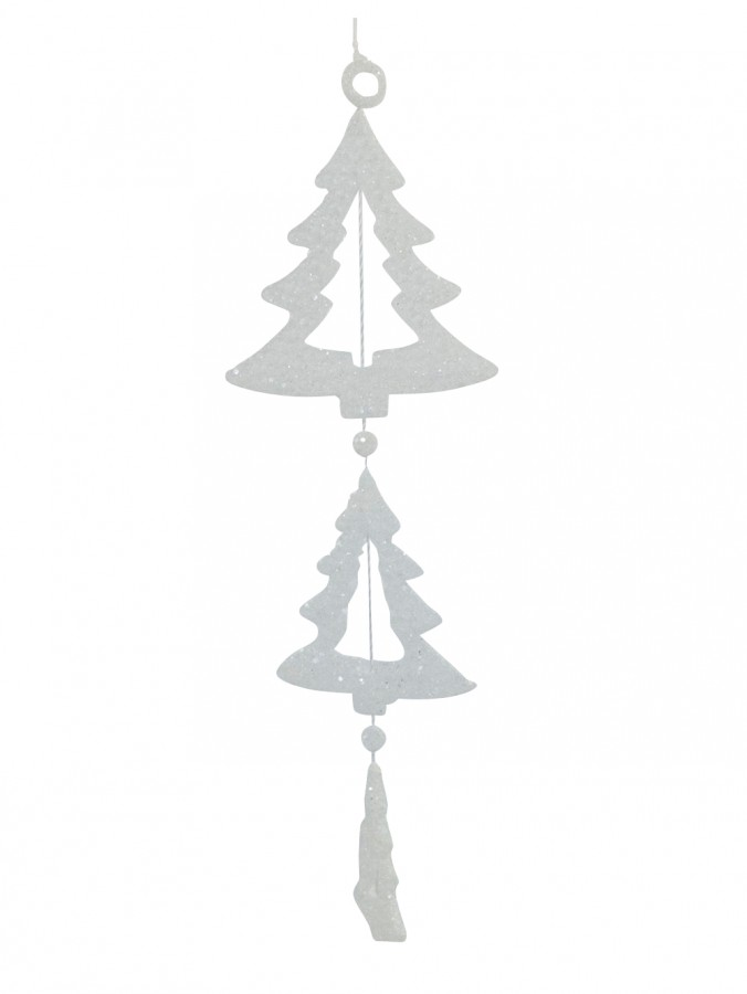 Glittered Frosted Tri Christmas Tree Hanging Decoration - 15cm