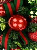 Red & Green Centrepiece With Baubles & Striped Ribbon - 74cm