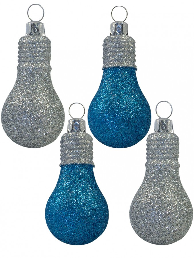 Glittered Turquoise & Silver Light Bulb Decorations - 4 x 70mm
