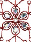 Red Snowflake & Encrusted Diamante Christmas Tree Hanging Decoration - 12cm