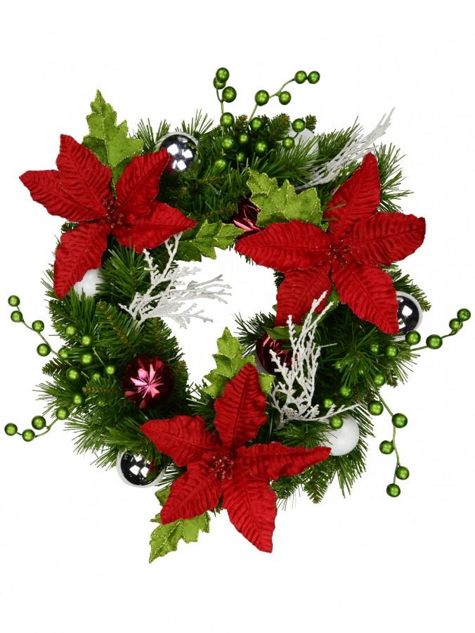 Vibrant Two Needle Pine Branch & Poinsettia Decorated Wreath - 44cm