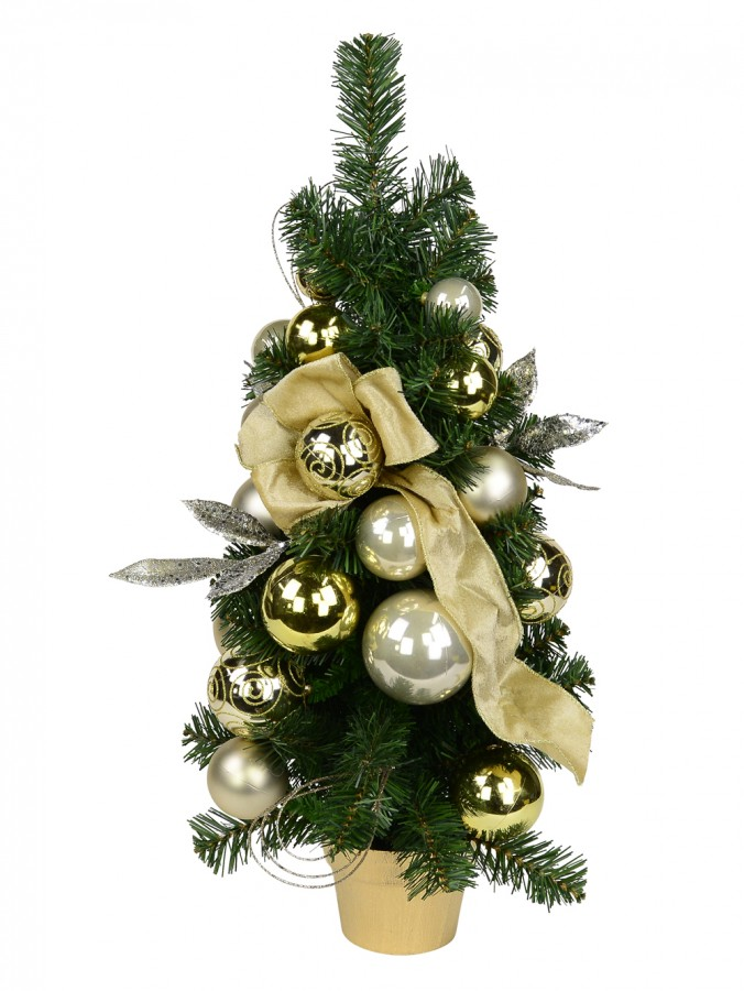 Gold & Champagne Bauble Pre-Decorated Pine Table Top Tree - 65cm
